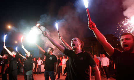 Golden Dawn supporters in Thessaloniki, Greece. (Credit: Reuters)