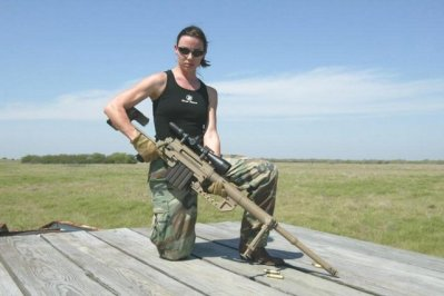 Brunette with a Sniper Rifle