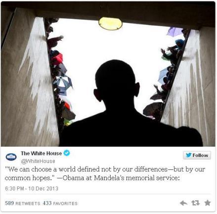Obama's Madela Funeral Tweet